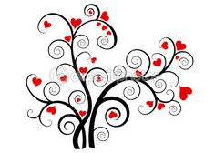Valentine love tree with red hearts — Stock Illustration #7957346