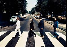 """Image: A rare """"backwards"""" photo from the Beatles' famous """"Abbey Road"""" photoshoot."""