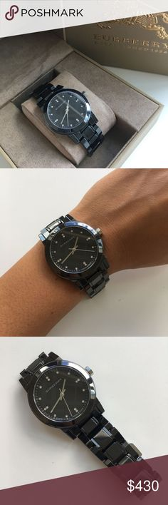 New Burberry Ceramic Black Ladies Watch BU9183 BRAND NEW.Burberry Diamond Black Dial Smoke Ceramic Quartz Ladies Quartz Watch BU9183. Ceramic case.  Ceramic bracelet.  Black dial.  Swiss quartz movement.  Diamond dial.  Sapphire crystal.  Water resistant 50 meters.  Case 34mm. Burberry Accessories Watches