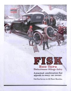 """Fisk Tires"" by Norman Rockwell from January 13, 1917"