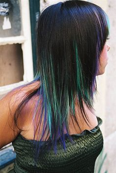 hair color blue green. I absolutely love this but think I am just a little too old to pull it off.