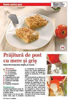 Prajitura de post cu mere si gris Apple Desserts, Baked Potato, Baking, Ethnic Recipes, Sweet, Food, Sweet Treats, Candy, Bakken