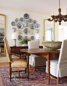Traditional Dining Room Inspiration Dining Room Furniture And Decor Dining Room Wall Decor, Dining Room Design, Dining Room Furniture, Plate Wall Decor, Wall Plates, Decor Room, Hanging Plates On Wall, Bedroom Decor, French Country Dining Room