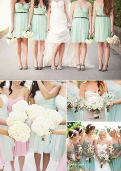 spring 2014 wedding color trends-Short Chiffon Mint Bridesmaid Dress add chocolate or khaki accents. Love love.
