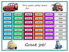 The potty chart Elijah picked. We've told him if he fills one row he gets a car. stickers for each time he goes.