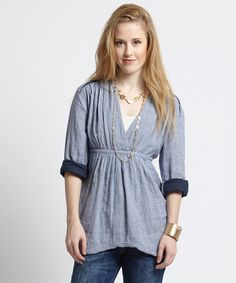 Look at this Free People Blue Stripe All Who Wander Top on #zulily today!