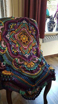 Crochet Mandala Pattern, Crochet Square Patterns, Freeform Crochet, Afghan Crochet Patterns, Crochet Designs, Knit Crochet, Crochet Squares Afghan, Crotchet, Crochet Crafts