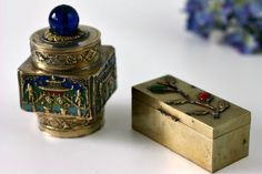 Pair of Antique China Brass Snuff Boxes - Blue Glass Repousse Inlay Stones Enamel Hand painted Trinket Boxes