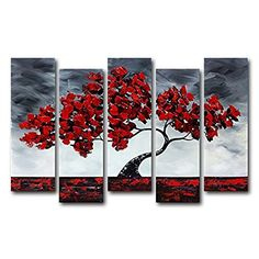 VASTING ART 5Panel 100 HandPainted Oil Paintings Landscape Plant Red Tree Modern Abstract Contemporary Artwork Canvas Stretched Wood Framed Ready To Hang Home Decoration Wall Decor Living Bedroom ** Check this awesome product by going to the link at the image.Note:It is affiliate link to Amazon.