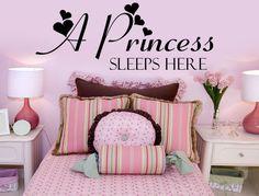 A Princess Sleeps Here Vinyl Wall Art, Custom Wall Art, Wall Decals, Decal, Princess Art, Princess, Princess Decal, Princess Wall Quote