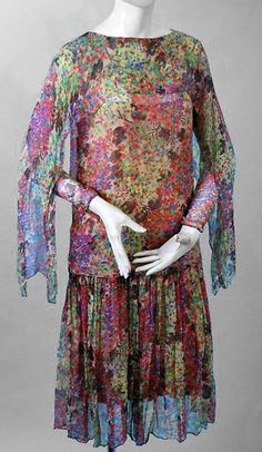 1920's Watercolor Floral-Garden Silk Chiffon Winged-Sleeves Deco Flapper Dress 4