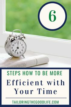 As busy moms, we need to be as efficient with our time as possible. Our daily schedules are usually fully packed with tasks and chores. If you need ideas and tips to use your time efficiently and be as productive as you can be, click and learn the 6 steps to be more efficient with your time. #timemanagmenttips #priorities #planning #timeefficiency #busymoms