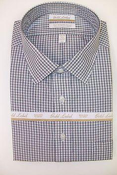 Roundtree /& Yorke Gold Label Non Iron EZ Wash Gingham Plaid Dress Shirt $75 NWT