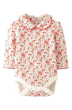 Mini Boden 'Pretty Collar' Bodysuit (Baby Girls)
