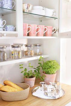 Estante de cocina bajo armario tipo vitrina