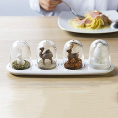 Celebrate the seasons with a little bit of seasoning or proudly display your penchant for polar bears and gourmet salt. Each cruet set displays 4 trees or 4 animals that stay hidden until your seasonings run low. Buy one for yourself and one for a friend!