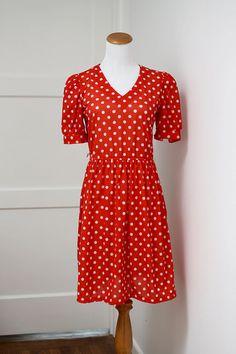 Vintage Red Polka Dots Dress Minnie Small
