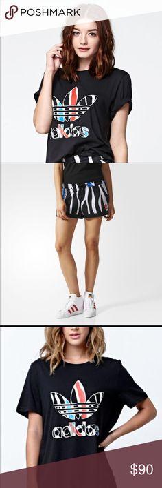 Adidas zebra set  Black t shirt zebra print symbol and zebra shorts Adidas Tops Tees - Short Sleeve