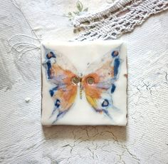A  large Handmade Butterfly Design Porcelain by HodgePodgeArts