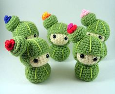 I don't know how to crochet, but if I did I would be making cute, weird little critters like these.
