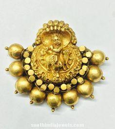 Gold Antique Krishna Pendant