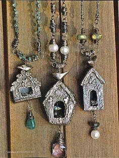 Art Clay Silver Birdhouses My flight to create birdhouses started a couple of years ago when I took an introductory class into Art Clay Sil. Metal Clay Jewelry, Bird Jewelry, Sea Glass Jewelry, Pendant Jewelry, Jewelry Art, Silver Jewelry, Jewelry Design, Silver Earrings, Handmade Silver