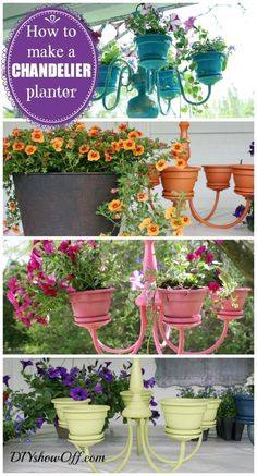 Show Off Chandelier Planter Tutorial - Add a little DIY fancy to your porch with this cute addition.Chandelier Planter Tutorial - Add a little DIY fancy to your porch with this cute addition. Garden Crafts, Garden Projects, Diy Projects, Flower Planters, Flower Pots, Flowers Garden, Container Flowers, Succulent Containers, Container Plants