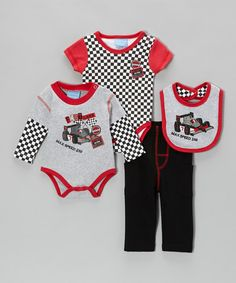 Take a look at this Red & Gray 'Max Speed 250' Bodysuit Set by Duck Duck Goose on #zulily today!