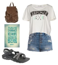 """""""Going to church camp!!"""" by emrow ❤ liked on Polyvore featuring Pieces, ONLY, Chaco, women's clothing, women, female, woman, misses and juniors"""