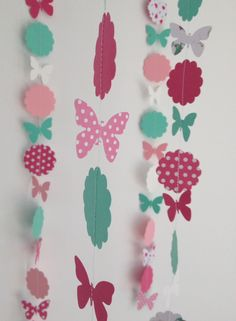 Paper garland flower and butterfly pink mint white super cool and made by Renate