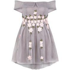Petite Grey Mesh Floral Applique Bardot Neck Dress (225 BRL) ❤ liked on Polyvore featuring dresses, vestidos, gray dress, mesh applique dress, floral mesh dress, petite dresses and flower printed dress