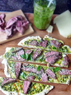 Grilled Steak Flatbread - homemade flatbread grilled and topped with chimichurri sauce, steak, and Manchego Cheese Grilling Recipes, Wine Recipes, Beef Recipes, Pizza Recipes, Recipies, Grilled Flatbread Pizza, My Favorite Food, Favorite Recipes, Fun Easy Recipes