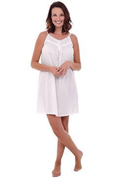 Del Rossa Women's Priscilla Cotton Nightgown, Sleeveless Victorian Sleepwear, Small White (A0527WHTSM) - Brought to you by Avarsha.com