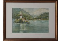 Lake Island on OneKingsLane.com. Original vintage art.  From Anna Hackathorn Interior Design.
