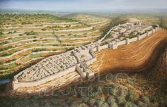 Jerusalem of King Solomon Looking NW, century BC - Archaeology Illustrated Bible Images, Bible Pictures, Israel History, Ancient History, Ancient Mesopotamia, Ancient Civilizations, Heiliges Land, Solomons Temple, Bible Mapping