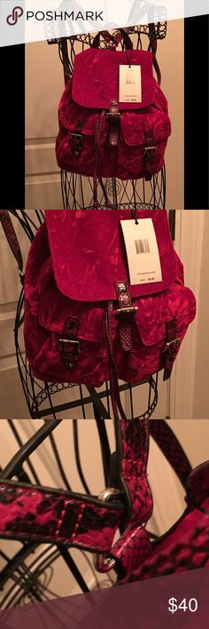 NWT Steve Madden cherry red velvet backpack NWT Steve Madden velvet backpack. Color is a rich cherry red in person, camera is giving the bag a slightly different tint. Open to offers! Steve Madden Bags Backpacks