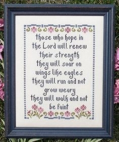 My Big Toe Designs Hope in the Lord - Cross Stitch Pattern. Those who hope in the Lord will renew their strength, they will soar on wings like eagles, they will Cross Stitch Designs, Cross Stitch Patterns, Cross Stitching, Cross Stitch Embroidery, Toe Designs, Lord, Christian Crafts, Cross Stitch Bookmarks, Hand Embroidery Patterns