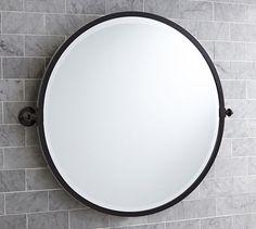 Round vs oval bathroom mirrors ~~~ http://www.potterybarn.com/products/kensington-wall-mount-pivot-round-mirror/?pkey=cdecorating-mirrors