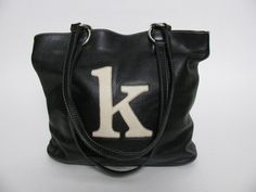 ROOTS CANADA BLACK LEATHER MONOGRAM LOGO LETTER 'K' SHOPPER TOTE PURSE HAND BAG #ROOTS #TotesShoppers