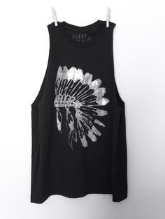 FREE SHIPPING- Chief Headdress, Headdress Tank, Muscle Tank, Native Tank Top, Head Dress tank top (women, teen girls)