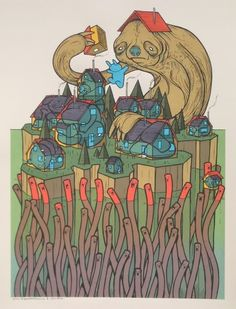 """Jay Ryan teamed up with Luke Drozd (the undisputed star of Flatstock) for this amazing new art print. """"Sloth Comes To Visit"""" is an 18"""" x 24"""" eight color screenp."""