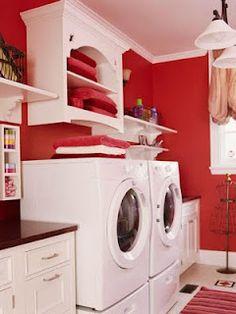 red laundrey room= Love! favorite color