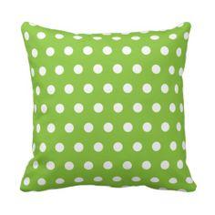 white polka dots on lime green throw pillow