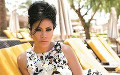 Download wallpapers Saba Mubarak, Jordanian actress, 4k, portrait, photoshoot, brunette, makeup, white dress
