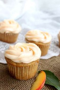 Brown Butter Peach Cupcakes   www.chocolatewithgrace
