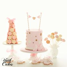 Pink and gold polka dots baby shower cake.