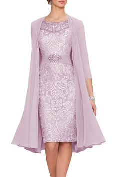 Cute Blush Chiffon Mother Of The Bride Dresses Tea Length Two Pieces With Jacket