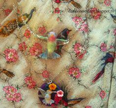 polymer clay fimo hummingbird necklace