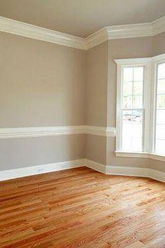 57 Ideas Kitchen Paint Colors With Chair Rail Decorating Ideas Bedroom Paint Colors, Paint Colors For Living Room, Living Room Grey, Wall Colors, Living Room Decor, Color Walls, Dado Rail Living Room, Grey Walls White Trim, Home Decor