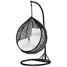 Rattan Hanging Swing Chair with cushion Wicker Beach Garden Hanging Hammock Seat Hanging Chair With Stand, Hanging Swing Chair, Hammock Swing Chair, Swinging Chair, Swing Seat, Hanging Chairs, Hanging Beds, Wicker Porch Swing, Egg Swing Chair